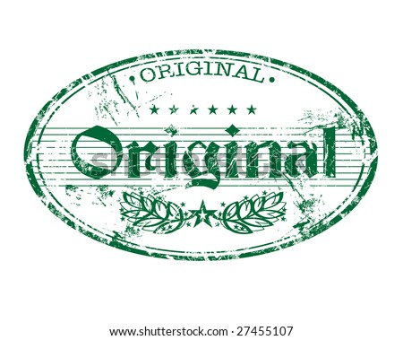 Abstract grunge oval rubber stamp with the word original written in the middle of the stamp