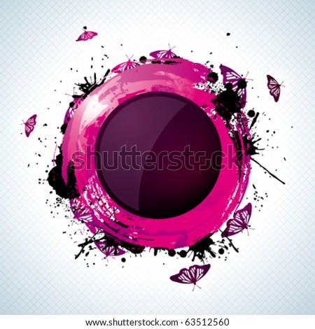 Abstract grunge purple button with butterflies - stock vector