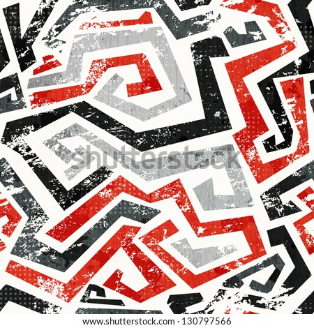 abstract grunge red curved lines seamless pattern - stock vector