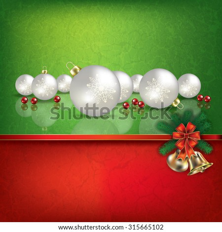 Abstract grunge red green background with hand bells and white Christmas decorations - stock vector
