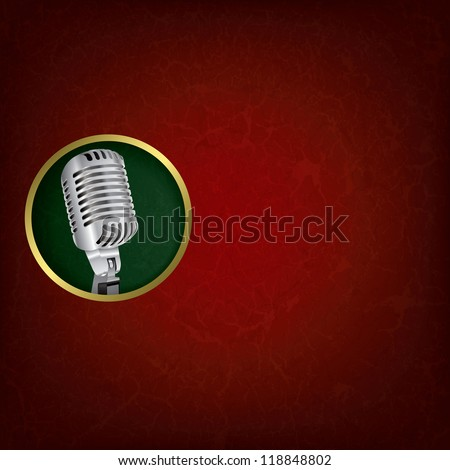 abstract grunge red music background with retro microphone on green - stock vector