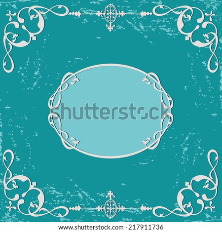 Abstract grunge rough background. Calligraphic swirling decorative frame - stock vector