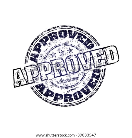 Abstract grunge rubber office stamp with the word approved written inside the stamp - stock vector