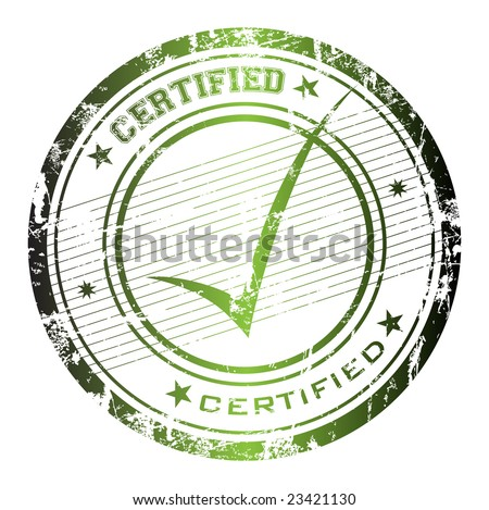Abstract grunge rubber office stamp with the word certified and small stars - stock vector