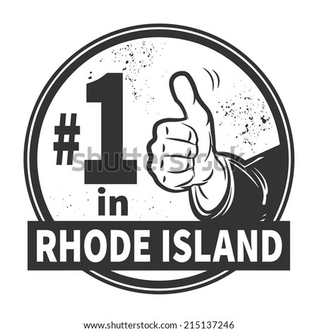 Abstract grunge rubber stamp or label with text Number One in Rhode Island written inside, vector illustration