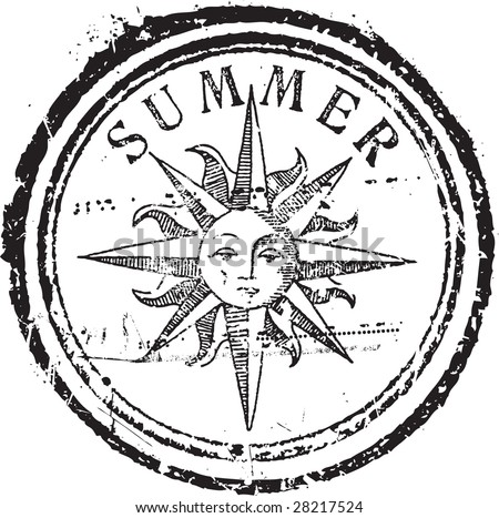 Abstract grunge rubber stamp shape with the word summer - stock vector