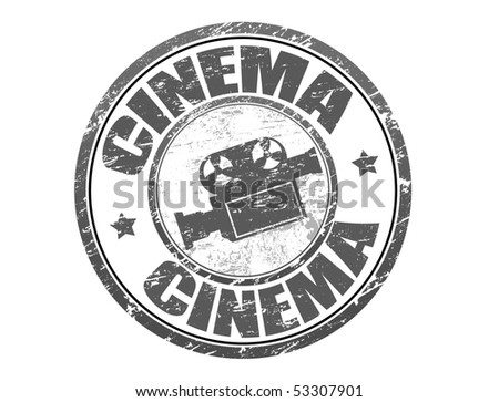 Abstract grunge rubber stamp with old movie camera shape and the word cinema written inside the stamp - more available - stock vector
