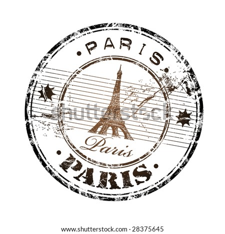 Abstract grunge rubber stamp with the Eiffel Tower symbol and the name Paris written inside the stamp - stock vector