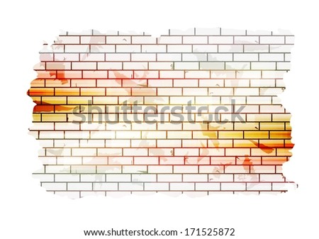 Abstract grunge tech vector background. Brick wall design - stock vector