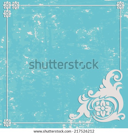 Abstract Grunge texture blue background. Ornament frame - stock vector