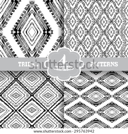 Abstract grunge tribal seamless patterns, design elements. Can be used for invitations, greeting cards, scrapbooking, print, gift wrap, manufacturing - stock vector