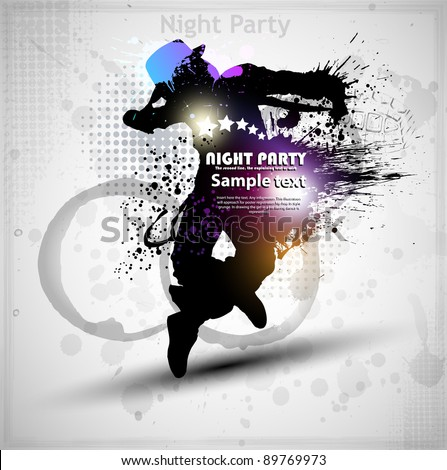 Abstract grunge vector background. Street dancer - stock vector