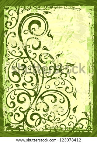Abstract grunge vector floral illustration.