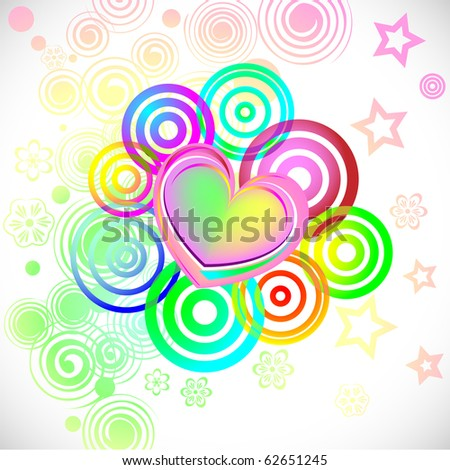 abstract grunge vector with heart - stock vector