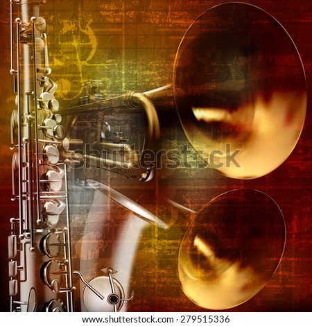 abstract grunge vintage sound background with trumpet and saxophone - stock vector