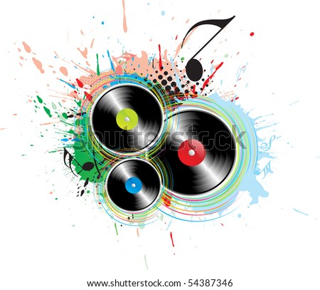 abstract grunge with music note background, vector illustration,