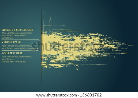 Abstract grungy background for your text. Vector yellow banner - stock vector