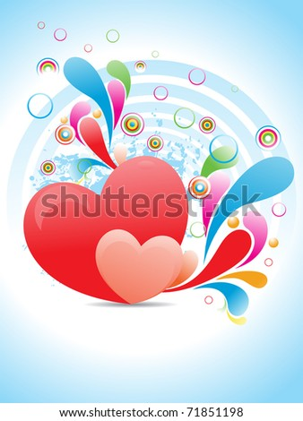abstract grungy colorful artwork background with romantic heart