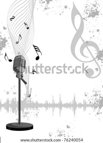 abstract grungy musical notes background with isolated mike, vector illustration - stock vector