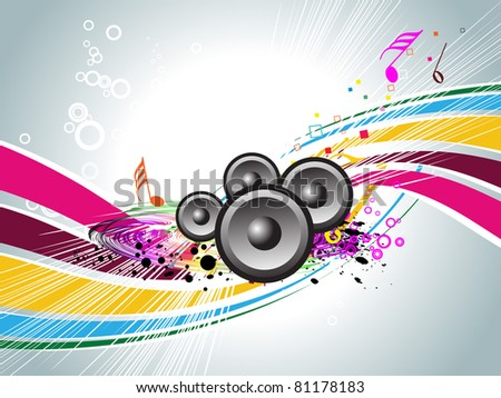 abstract grungy musical notes background with musical instrument - stock vector