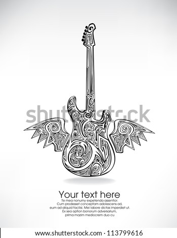 Abstract guitar tattoo background - stock vector