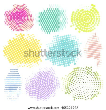 Abstract Halftone Backgrounds Vector Set of Isolated Modern Design Element. Set of colored Halftone, vector illustration grunge colorful dots