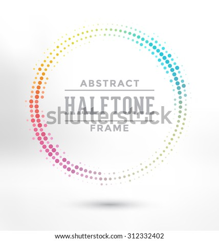 Abstract Halftone Circle Frame - Colorful Design - stock vector