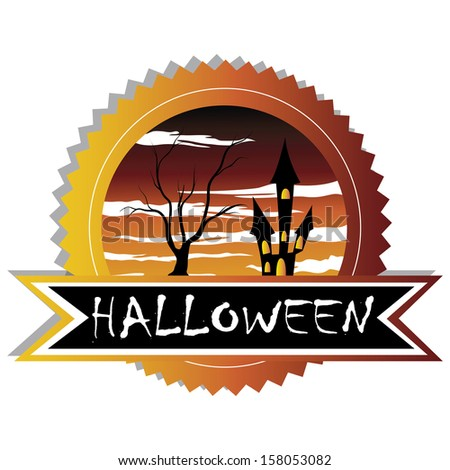 abstract halloween label with some terror objects on white background