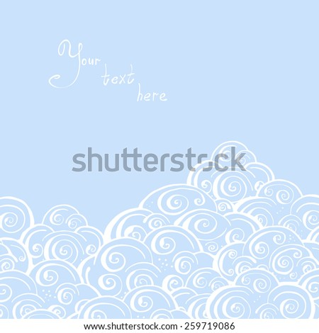 Abstract hand-drawn background of stylized clouds in blue tones - stock vector