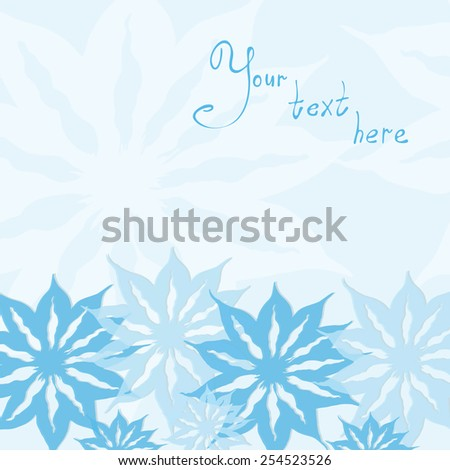 Abstract hand-drawn background with flowers on a blue background - stock vector