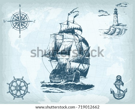 Abstract hand drawn background vintage sailing stock vector abstract hand drawn background with vintage sailing ship compass lighthouse ship wheel pronofoot35fo Images