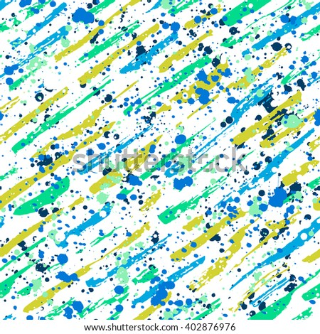 Abstract hand drawn brush strokes and paint splashes textures, seamless pattern