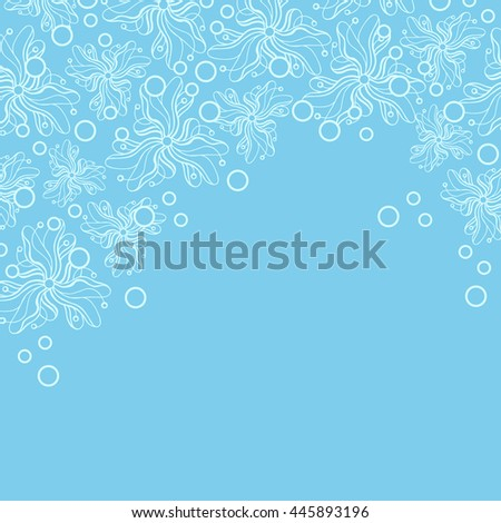 Abstract hand-drawn creative background of stylized flowers in pale cyan and light turquoise colors. Vector illustration.