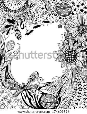 Abstract hand - drawn floral background with decorative flowers, leaves, grass, dragonfly, ladybugs and floral and geometrical patterns, black and white design with space for text - stock vector