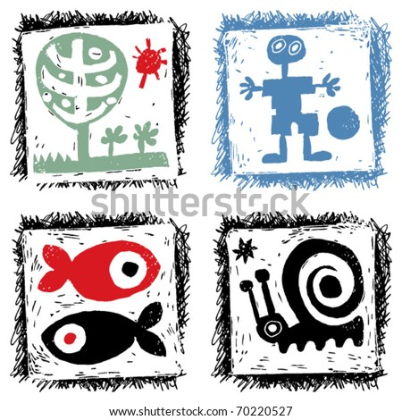 abstract hand drawn icons, child's doodles - stock vector