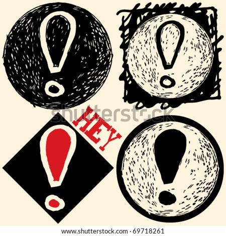 abstract hand drawn icons, doodle screamer - stock vector
