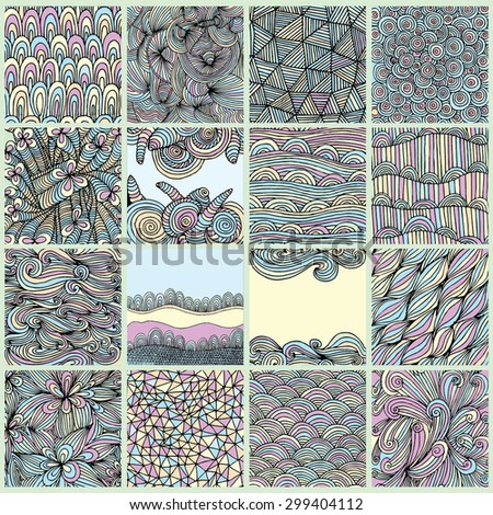 Abstract hand drawn patterns  - stock vector