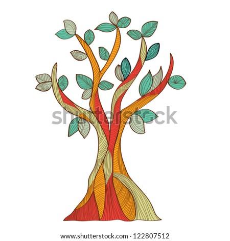 abstract hand-drawn tree - stock vector