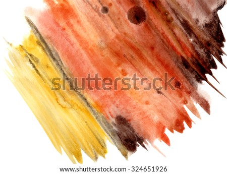 Abstract hand drawn watercolor background in yellow and orange, raster illustration, abstract watercolour hand painted background, warm theme  - stock vector