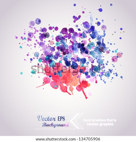 Abstract hand drawn watercolor background,vector illustration, stain watercolors colors wet on wet paper. Watercolor composition for scrapbook elements - stock vector