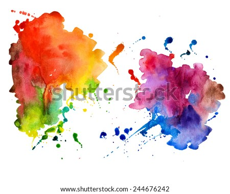 Abstract hand drawn watercolor background,vector illustration.  Watercolor composition for scrapbook elements.  Watercolor shapes on white background.  - stock vector