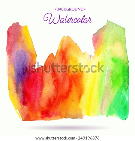 Abstract hand drawn watercolor background. Vector illustration. Watercolor composition for scrapbook elements. Red, orange, yellow and green colors.