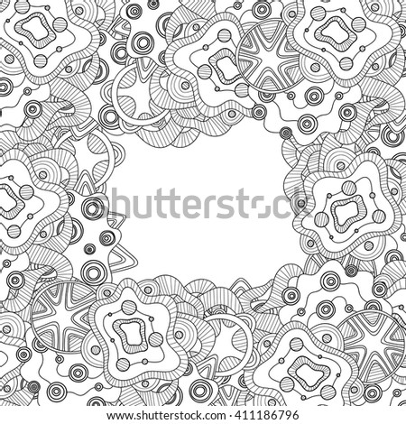 Abstract hand drawn zentangle style black and white vector frame. Doodle art decorative border.