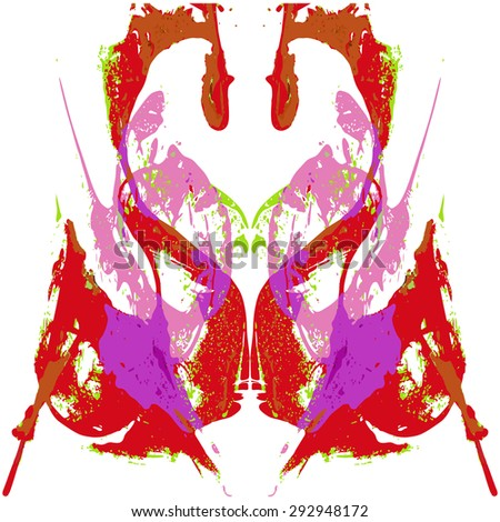 Abstract hand painted string-pull watercolor ink rorschach. Swans. Hearts. EPS 10 Vector Background - stock vector