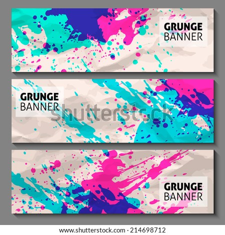 abstract hand painted watercolor ink grunge vector banner set for your business presentation. grunge background on crumpled paper.