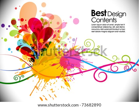 Abstract  Hand print modern banner theme background with circles and splash, Editable Illustration - stock vector