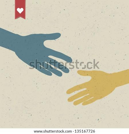Abstract hand shake. Vector, EPS10 - stock vector