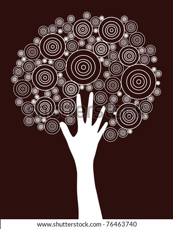 abstract hand tree, symbol of nature protection - stock vector