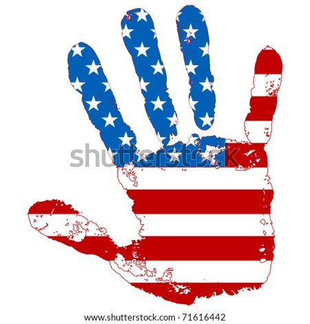 abstract hand united states flag - stock vector