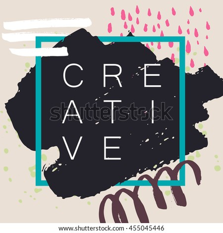Abstract handdrawn background. Colorful trendy textured ink shapes with rough edges and geometric thin square frame on grey backdrop. Empty hand painted grungy template - Vector illustration - stock vector